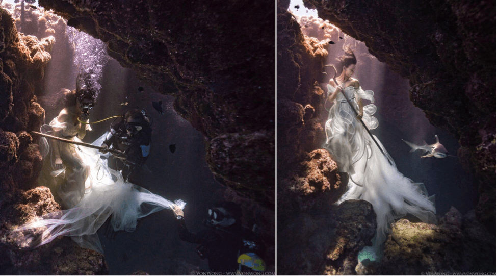 Behind the Scenes of This Insane Underwater Photo Shoot with Sharks
