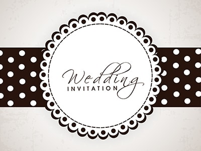 wedding invite polka dots