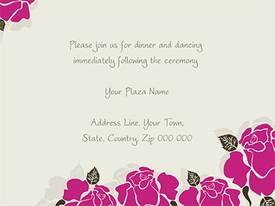 wedding invite pink flowers