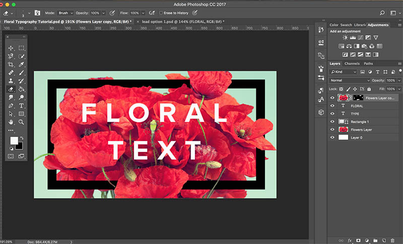 floral typography