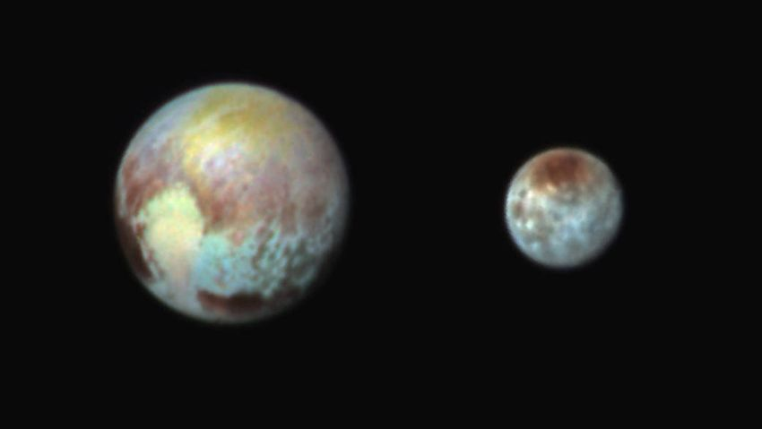 NewHorizons photo of Pluto and Charon