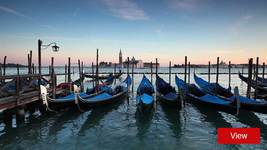 Italian gondolas on the water in Venice