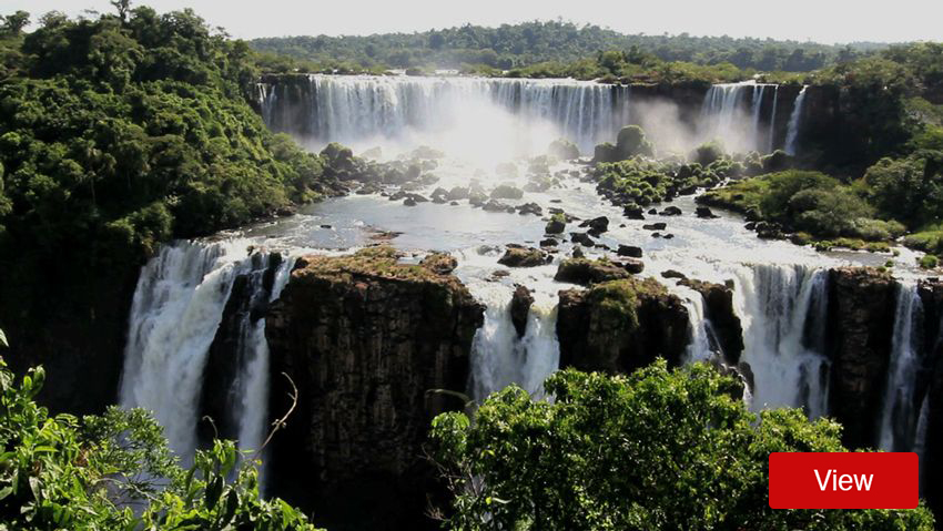 South American cliffs and waterfalls with green foliage