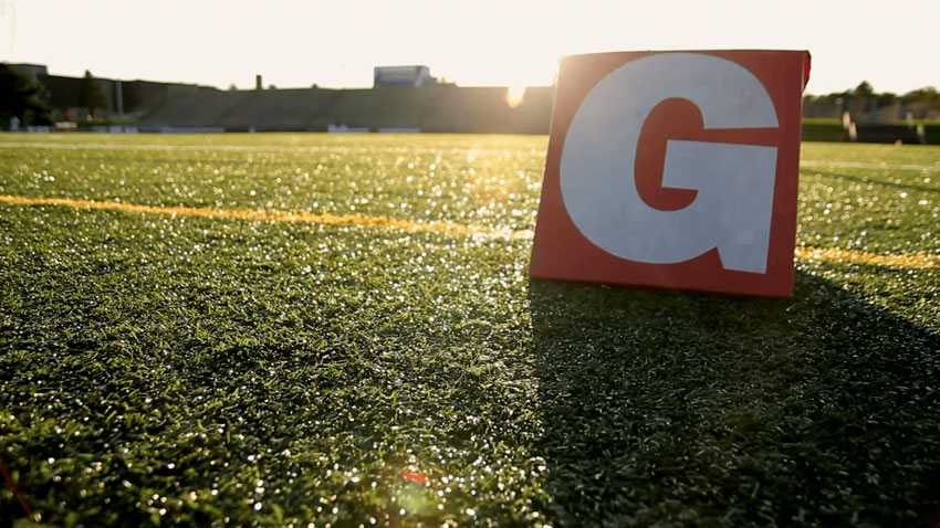Stock footage of sunrising over goalline
