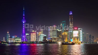 Stock cityscape timelapse footage of Shanghai