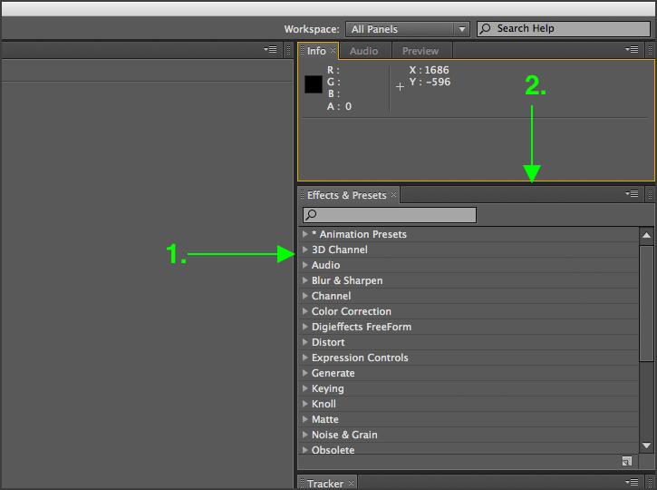 After Effects - Adjusting Panels