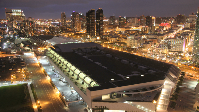 San Diego Time Lapse City Skyline Nightscape with Convention Center 2 Stock Photo
