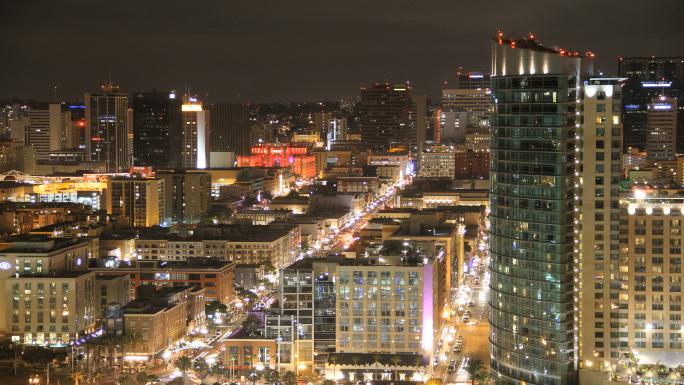 San Diego City Skylline Time Lapse Nightscape Stock Photo