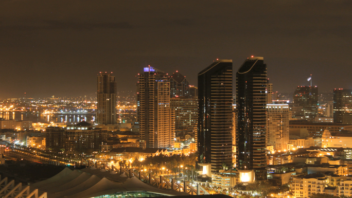 San Diego City Skyline Time Lapse Night to Day  Stock Photo