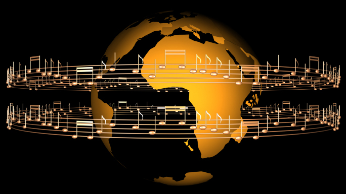 Transparent Alpha Channel Globe with Musical Notes Stock Photo