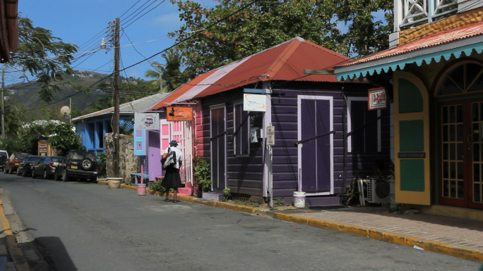 Tortola Road Town and Purple House Stock Photo