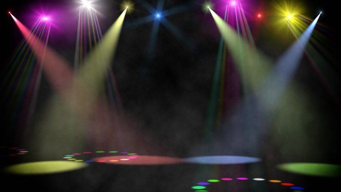 Swirling Colored Stage Spotlights Stock Photo