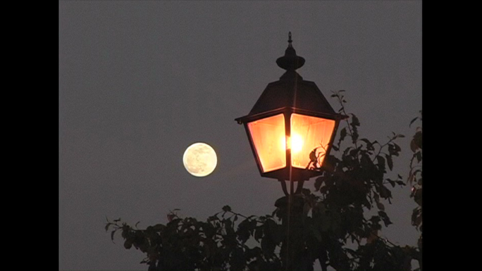 Moon and Street Lamp Stock Photo