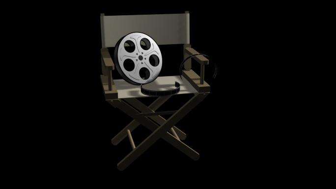 Director Chair Transparent Alpha Channel Loop Stock Photo