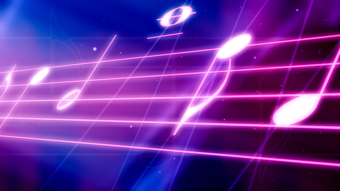 Neon Music Staff Free Stock Photo