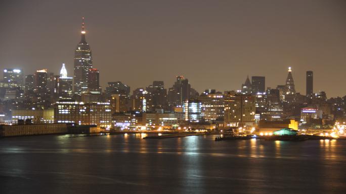 NYC Skyline Sunrise Time Lapse Stock Photo