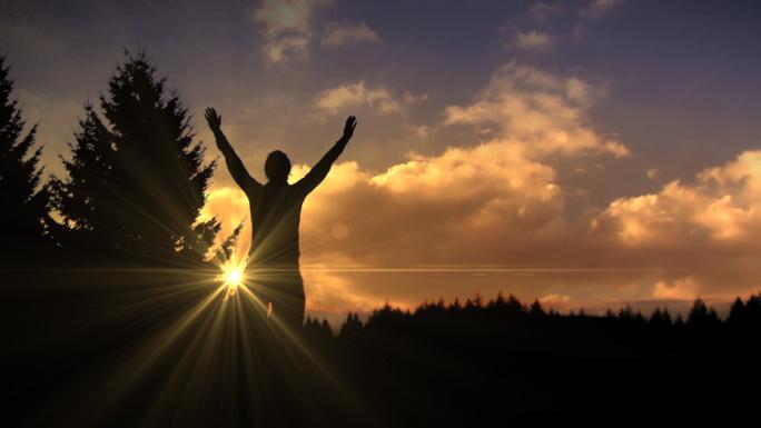 Silhouette Sunrise Worship Stock Photo