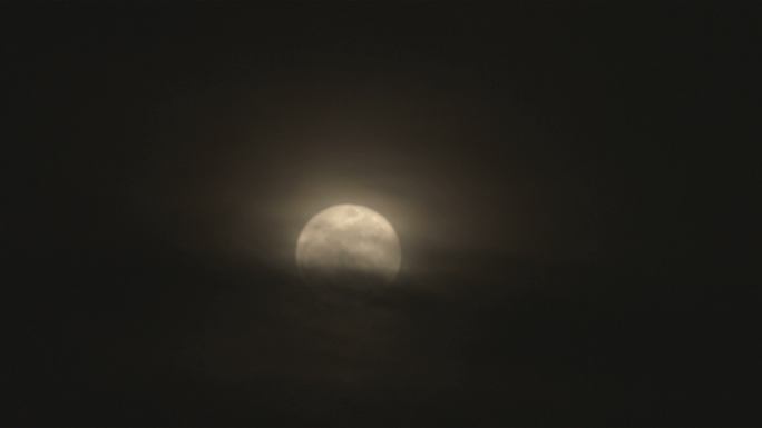 Full Moon at Night Behind Clouds 3 Stock Photo