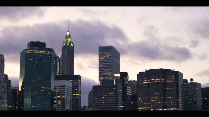 New York City Skyline Silhouette and Dark Clouds Timelapse 2 Stock Photo