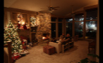 Family Sitting in Holiday Decorated Living Room