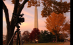 Camera Recording the Washington Monument at Sunset