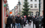 Crowds of People in German Town