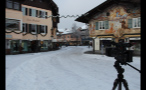 Camera Shooting Snowfall in Little German Town