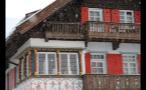 Colorful German Building and Snowfall