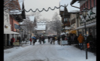 Crowded and Snowy Street in German Town