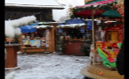 Snowfall in Small German Town Marketplace