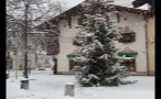 Snowstorm in German Town at Christmas Time