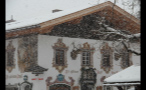 Snow Covering Decorated Building in German Town