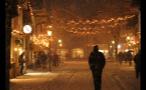 Heavy Snowfall on Street in German Town