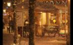 Heavy Snowfall Outside German Town Shop