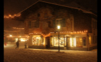Painted Building During Heavy Snowfall in German Town