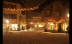 Blizzard in Small German Town at Christmas Time