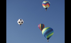 Soccer Ball Hot Air Balloon in the Sky With Others