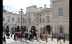 Crowds of Tourists and Guards on Horseback in London