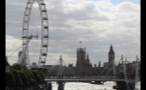 Parliament in the Distance Behind Hungerford Bridge and London Eye
