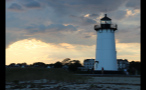 Edgartown Lighthouse and Cloudy Sky at Sunset