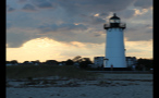 Edgartown Lighthouse and Cloudy Sky at Sundown