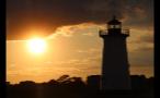 Orange Sky Behind Edgartown Lighthouse in Marthas Vineyard
