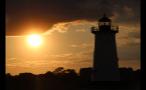 Sun in the Sky Behind the Edgartown Lighthouse