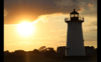 Sun in the Sky Behind the Edgartown Lighthouse in Marthas Vineyard