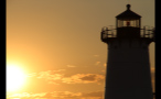 Top of Edgartown Lighthouse and Orange Sky at Sunset