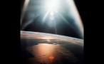 Light Burst Over the World in Outer Space