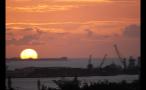 Cranes and Sun Setting on Horizon