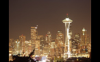 Space Needle and Skyscrapers in Seattle at Night