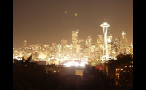 Bright Seattle Skyline Lit Up at Night
