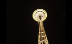 Space Needle Lit Up at Night Time in Seattle